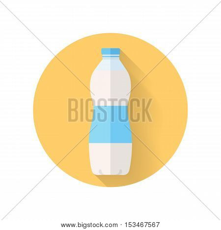 Dairy product vector. Flat design. Labeled plastic or glass bottle of fresh milk. Packaging for liquid product. Illustration for farm husbandry, milk production, grocery store ad. Isolated on white