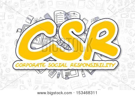 Business Illustration of Csr - Corporate Social Responsibility. Doodle Yellow Text Hand Drawn Doodle Design Elements. Csr - Corporate Social Responsibility Concept.