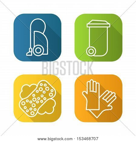 Cleaning equipment flat linear long shadow icons set. Vacuum cleaner, trash can, sponge with foam and latex gloves. Vector line illustration
