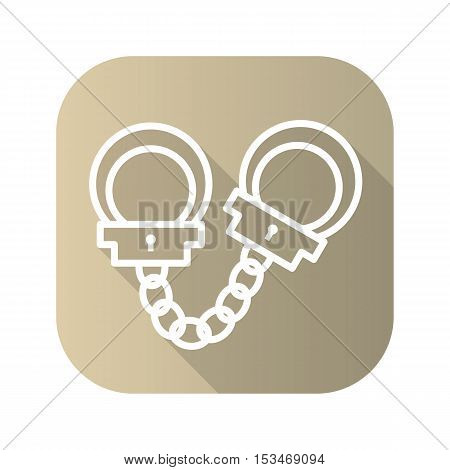 Handcuff flat linear long shadow icon. Vector line symbol.