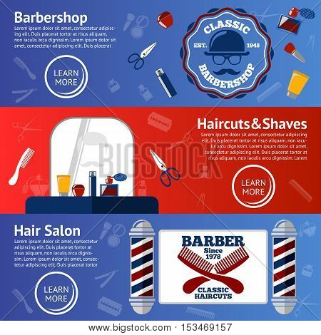 Vector set of Barber banners with grooming accessories - comb, razor, scissor, grease, poles etc.