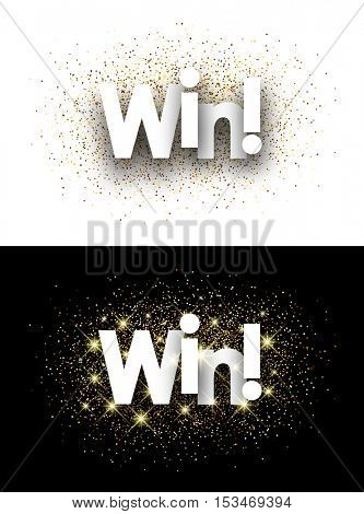 Win paper banner with shining sand. Vector illustration.