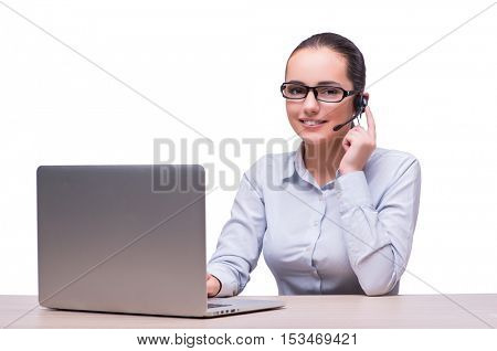 Businesswoman at her working desk with laptop