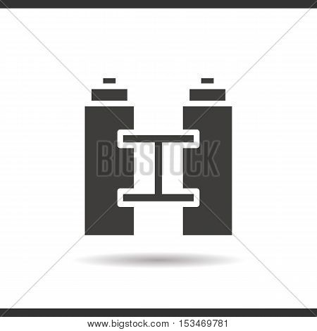 Binoculars icon. Drop shadow silhouette symbol. Negative space. Vector isolated illustration