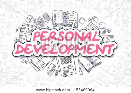 Cartoon Illustration of Personal Development, Surrounded by Stationery. Business Concept for Web Banners, Printed Materials.