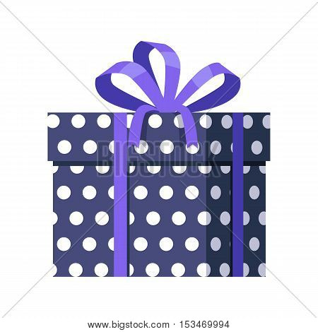 Blue gift box with white dots isolated. Present box with fashionable ribbon and bow. Decorative stylish wrap for presents package. Modern packing product. Gift container web icon sign symbol. Vector