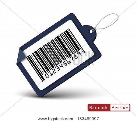 Price tag with bar code on white background