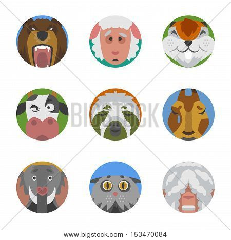 Cute animals emotions icons isolated fun set face. Happy character funny emoji set comic adorable pet. Animals emotions icons flat set expression smile collection. Wild avatar emoticon comic icons.