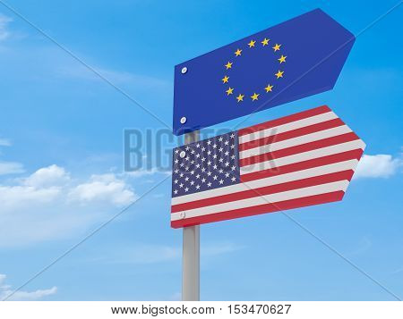 Partnership: US And EU Road Sign Against A Cloudy Sky Pointing In The Same Direction 3d illustration
