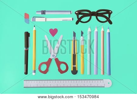 Pen Color Pencil Scissor Eraser Ruler Eyeglasses Concept