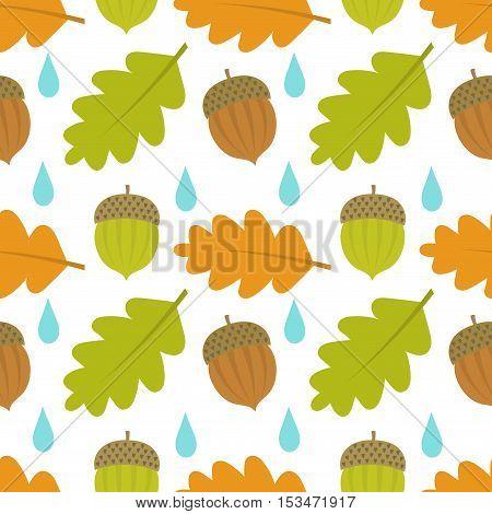 Autumn acorn on oak leaves seamless pattern. Vector illustration