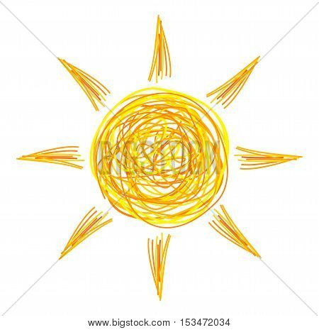 Drawing of doodle sun icon. Vector illustration