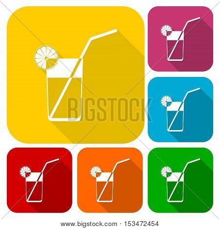 Fresh Lemonade icons set with long shadow