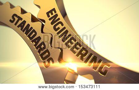 Engineering Standards on the Mechanism of Golden Metallic Cog Gears. 3D Render.