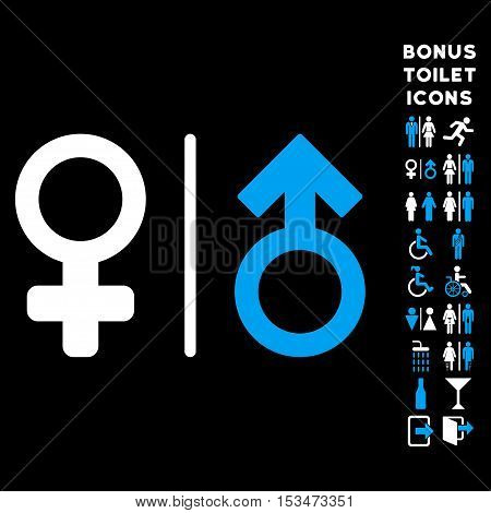 WC Gender Symbols icon and bonus male and female lavatory symbols. Vector illustration style is flat iconic bicolor symbols, blue and white colors, black background.