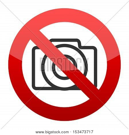 Red No photo camera sign on white background