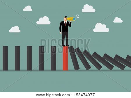 Businessman search in business strategy on red domino tile among many black dominoes. Be different concept