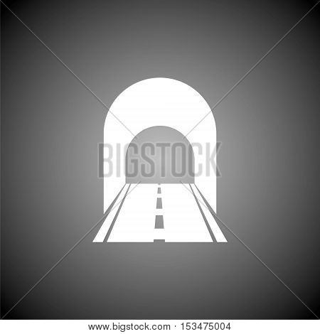 Road with tunnel icon on gray background