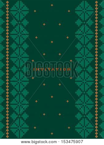 Vertical invitation greeting card with pattern cross stitch on dark green background  - vector illustration