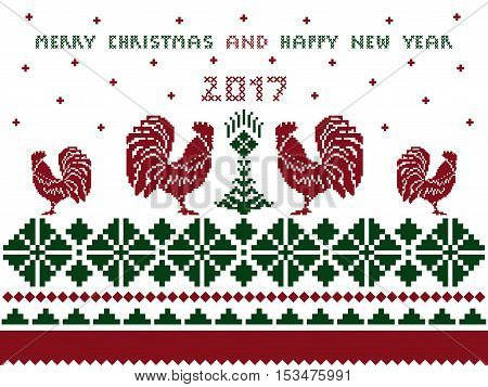 Merry Christmas and Happy New Year card with pattern cross stitch on white background  - vector illustration