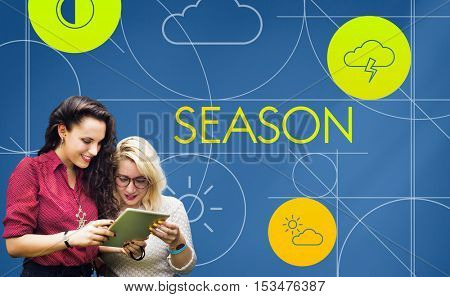 Season Forecast Temperature Cloud Graphic Concept