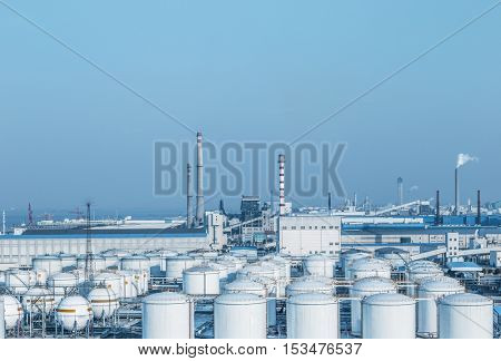 view of oil depot with chimneys,china.