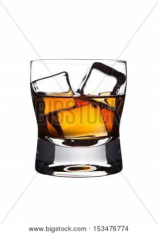 Glasss of whiskey with ice cubes isolated on white background
