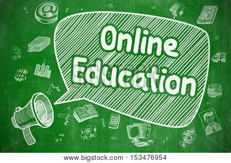 Speech Bubble with Wording Online Education Cartoon. Illustration on Green Chalkboard. Advertising Concept.