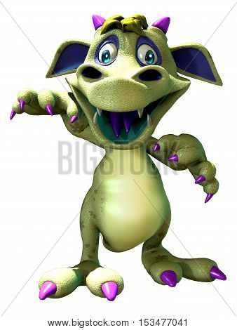 Cute dragon monster letting out a roar 3D illustration
