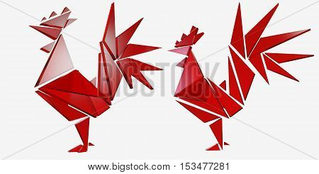 3d. Vector red rooster, the symbol of 2017. The emblem of the New Year according to the Chinese calendar. Stylized icon of a red rooster for logo design. Image of east symbol zodiac