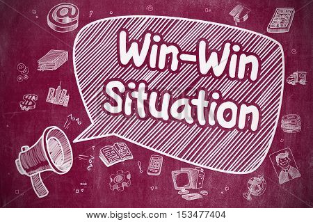 Business Concept. Bullhorn with Phrase Win-Win Situation. Doodle Illustration on Red Chalkboard. Win-Win Situation on Speech Bubble. Cartoon Illustration of Yelling Loudspeaker. Advertising Concept.