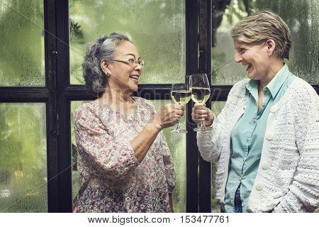 Senior Women Retirement Meet up Happiness Concept