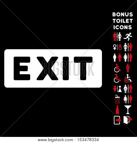 Exit Label icon and bonus male and lady WC symbols. Vector illustration style is flat iconic bicolor symbols, red and white colors, black background.