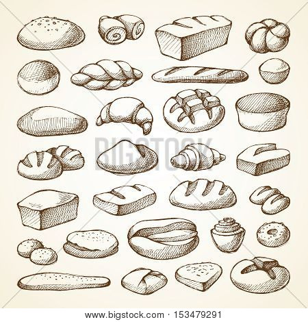 Set with bakery products sketch vector illustration. Hand drawn collection bread, loaf, muffin, croissant
