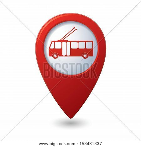 Map pointer with trolleybus icon. Vector illustration