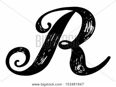 Letter R. Calligraphy alphabet typeset lettering. Hand drawn alphabet. Capital and lower-case letters. Copy-book hand font. Hand drawn sketch of ABC letters in old fashion vintage style.