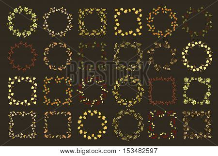 Autumn set of twenty four floral round and square frames. Collection of decorative autumn wreathes. Leaves, branches, berries, autumn.