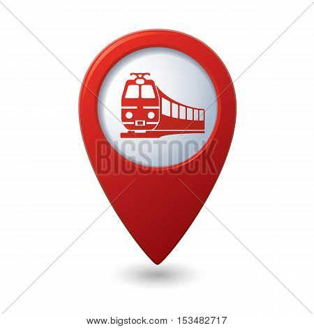 Map pointer with train symbol. Vector illustration