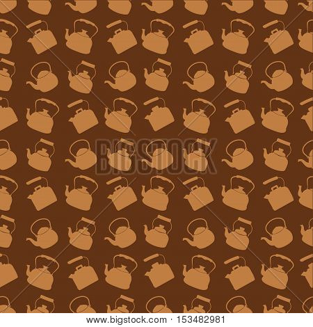 Seamless Brown Pattern with Kettle. Vector background with different teapots. Endless kitchen texture.