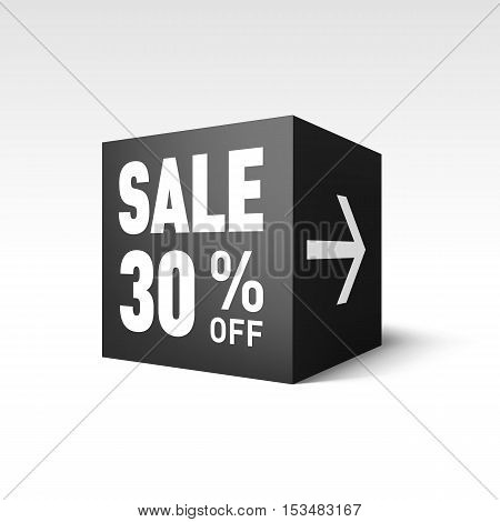 Black Cube Banner Template for Holiday Sale Event. Thirty Percent off Discount