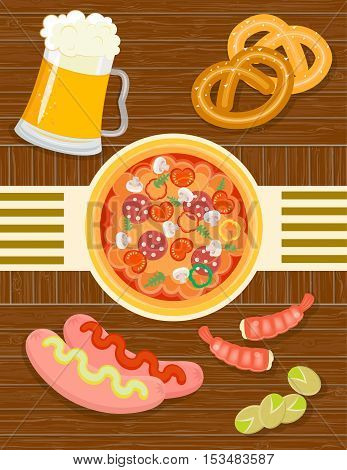 Beer and snacks: pizza sausage pistachio shrimp pretzels
