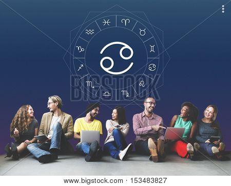 Cancer Horoscope Zodiac Prediction Graphic Concept