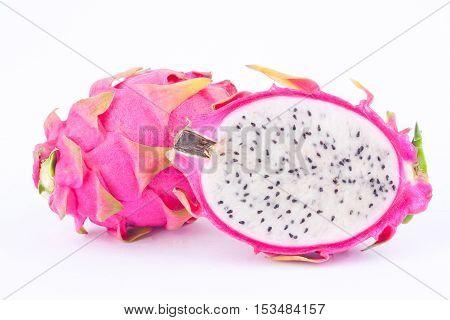 dessert vivid and vibrant organic dragon fruit (dragonfruit) or pitaya on white background healthy fruit food isolated