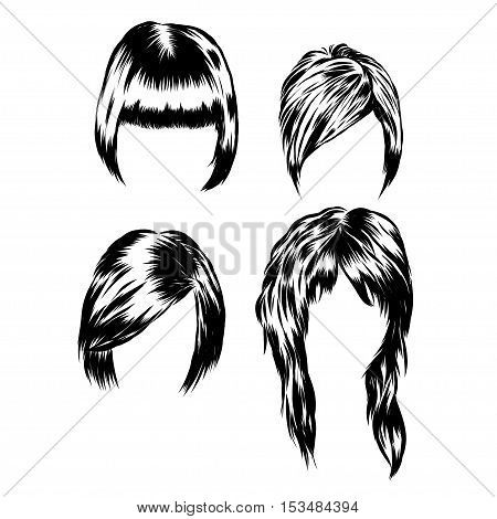 Hand drawn set of different women s hair styles. EPS 10