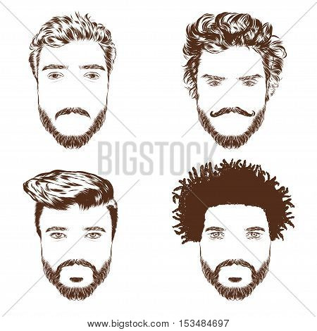 Set of men s hairstyles, beards and mustache. Hand-drawn sketch. Vector Illustration. EPS 10