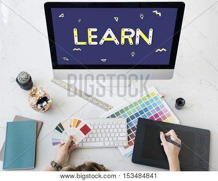 Geometric Font Brainstorm Ideas Concept