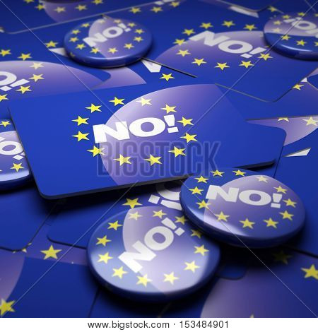3D rendering of a campaign background with badges with the European Union symbol and the word No