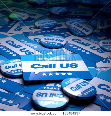 3D rendering of a campaign background full of badges, plates and cards with the letters call us
