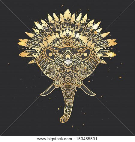Elephant gold head with american indian chief headdress. Ethnic Indian ornaments.