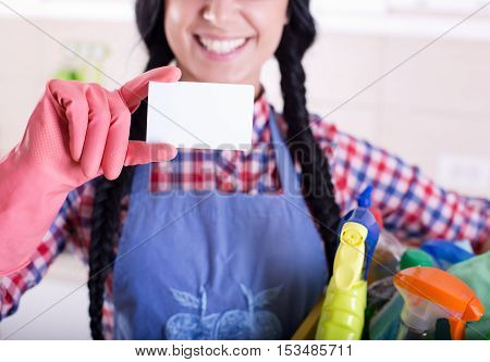 Cleaning Lady Showing Businesscard